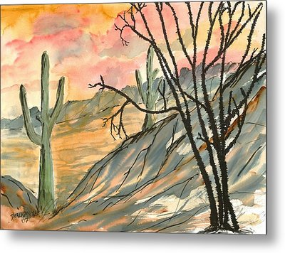 Arizona Evening Southwestern Landscape Painting Poster Print  Metal Print by Derek Mccrea