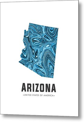 Arizona Map Art Abstract In Blue Metal Print
