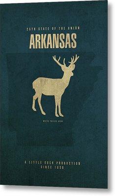 Arkansas State Facts Minimalist Movie Poster Art Metal Print