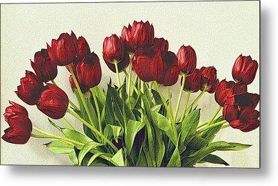 Array Of Red Tulips Metal Print by Nadalyn Larsen