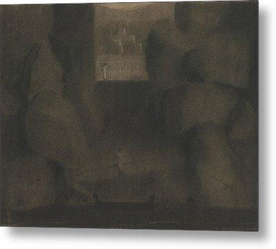 Arrival In A Dark Landscape Metal Print by Herbert Crowley