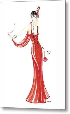 Art Deco Lady - Daphne Metal Print by Di Kaye