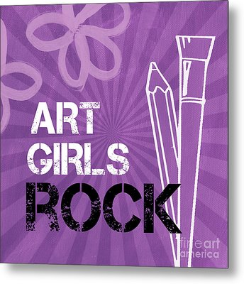 Art Girls Rock Metal Print