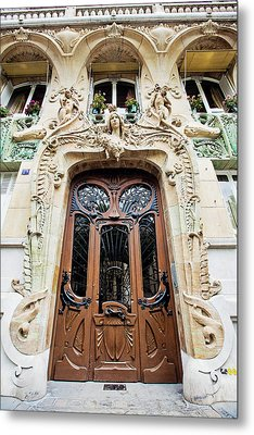 Metal Print featuring the photograph Art Nouveau Doors - Paris, France by Melanie Alexandra Price