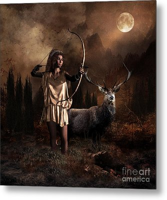 Metal Print featuring the digital art Artemis Goddess Of The Hunt by Shanina Conway