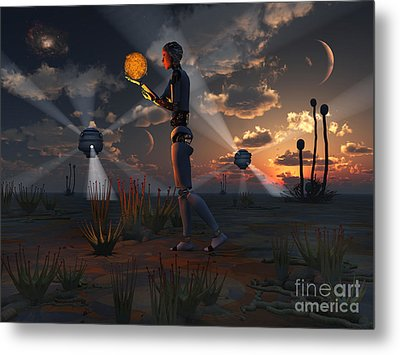 Artists Concept Of A Quest To Find New Metal Print by Mark Stevenson