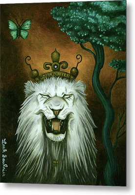 As The Lion Laughs Metal Print by Leah Saulnier The Painting Maniac