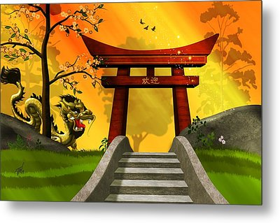 Asian Art Chinese Landscape  Metal Print