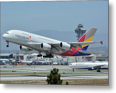 Metal Print featuring the photograph Asiana Airbus A380-800 Hl7626 Los Angeles International Airport May 3 2016 by Brian Lockett