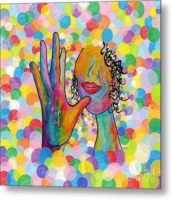 Asl Mother On A Bright Bubble Background Metal Print