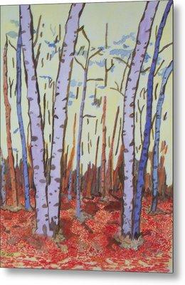 Metal Print featuring the painting Aspen Trees by Connie Valasco