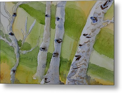 Metal Print featuring the painting Aspen Trunks by Beverley Harper Tinsley