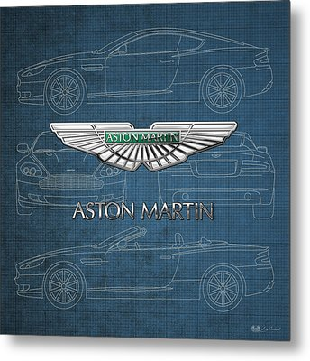 Aston Martin 3 D Badge Over Aston Martin D B 9 Blueprint Metal Print by Serge Averbukh