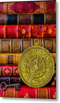 Astrolabe And Old Books Metal Print