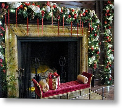 At The Hearth Of Christmas Metal Print by Angela Davies