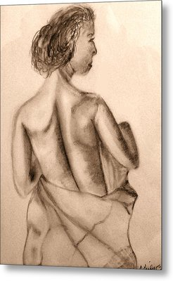 Metal Print featuring the drawing At The Spa by Barbara Giordano