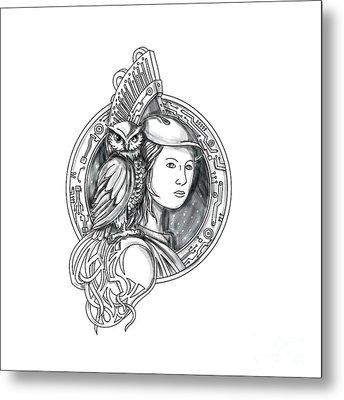 Athena With Owl On Shoulder Electronic Circuit Circle Tattoo Metal Print by Aloysius Patrimonio