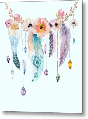 Atherstone Feather Spirit Gazer Metal Print