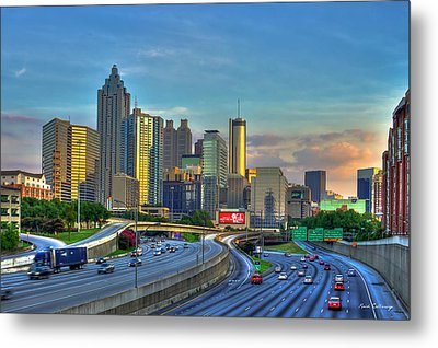 Metal Print featuring the photograph Atlanta Coca-cola Sunset Reflections Art by Reid Callaway