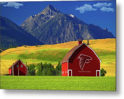 Metal Print featuring the photograph Atlanta Falcons Barn by Movie Poster Prints