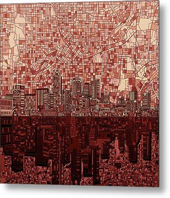 Atlanta Skyline Abstract Deep Red Metal Print