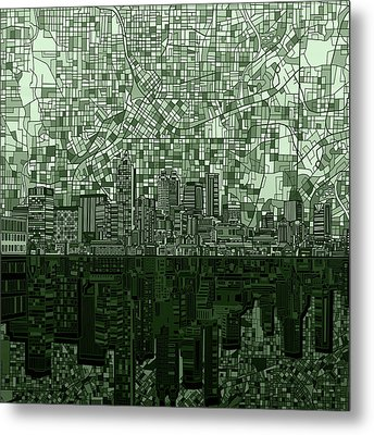 Atlanta Skyline Abstract Hunter Green Metal Print