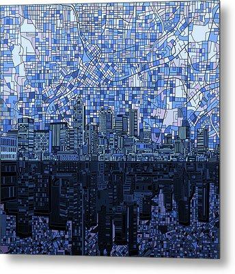 Atlanta Skyline Abstract Navy Blue Metal Print