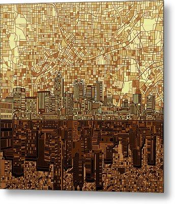 Atlanta Skyline Abstract Orange Metal Print
