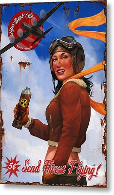 Atom Bomb Cola Send Thirst Flying Metal Print by Steve Goad