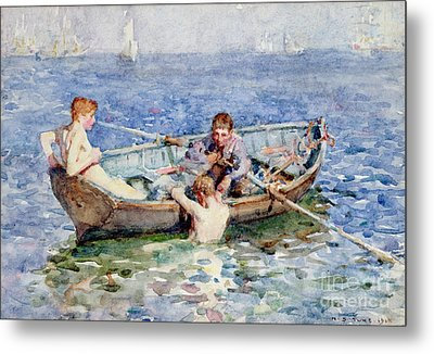 August Blue Metal Print by Henry Scott Tuke