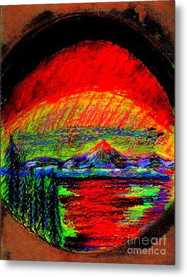 Metal Print featuring the painting Aurora Borealis Northern Lights by Richard W Linford