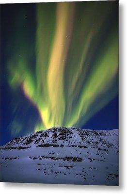 Aurora Borealis Over Toviktinden Metal Print by Arild Heitmann