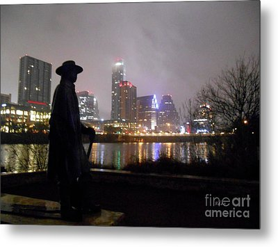 Austin Hike And Bike Trail - Iconic Austin Statue Stevie Ray Vaughn - One Metal Print