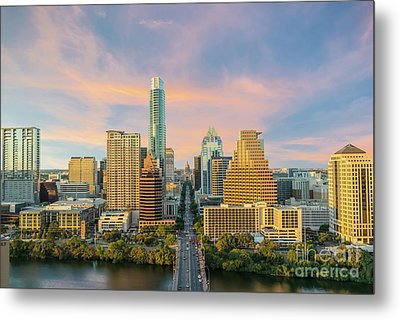 Austin Skyline Golden Glow Metal Print by Tod and Cynthia Grubbs