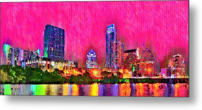 Austin Texas Skyline 112 - Pa Metal Print