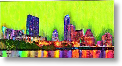 Austin Texas Skyline 115 - Pa Metal Print by Leonardo Digenio