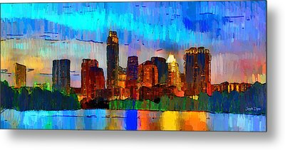 Austin Texas Skyline 200 - Pa Metal Print by Leonardo Digenio