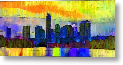 Austin Texas Skyline 202 - Pa Metal Print by Leonardo Digenio