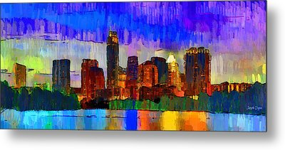 Austin Texas Skyline 208 - Da Metal Print by Leonardo Digenio