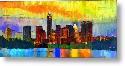 Austin Texas Skyline 211 - Da Metal Print by Leonardo Digenio