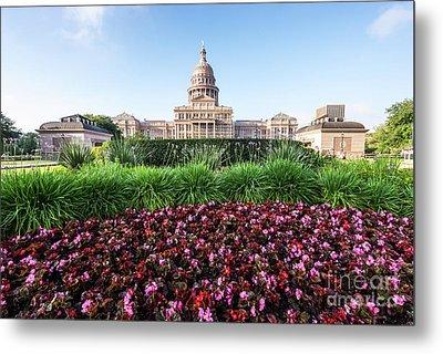 Austin Texas State Capitol Building Flowers Metal Print