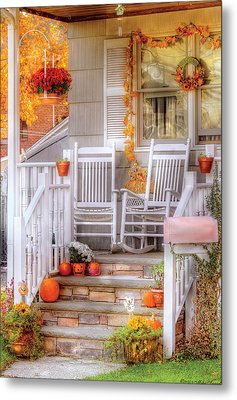Autumn - House - My Aunts Porch Metal Print by Mike Savad