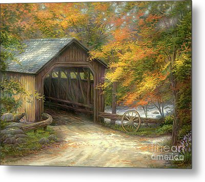 Autumn Bridge Metal Print by Chuck Pinson