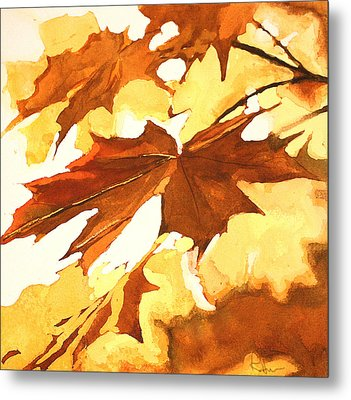Metal Print featuring the painting Autumn Greeting by Rachel Hames