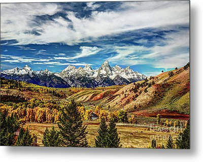 Autumn In The Tetons Metal Print by Jean Hutchison