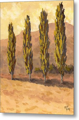 Autumn Poplars Metal Print by David King