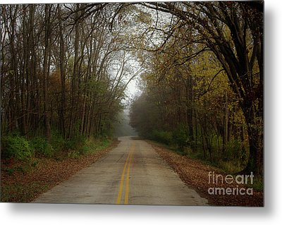 Autumn Road Metal Print by Inspired Arts