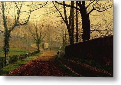 Autumn Sunshine Stapleton Parknear Pontefract  Metal Print by John Atkinson Grimshaw