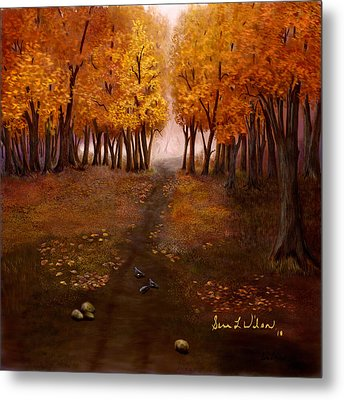 Metal Print featuring the painting Autumn Trail by Sena Wilson