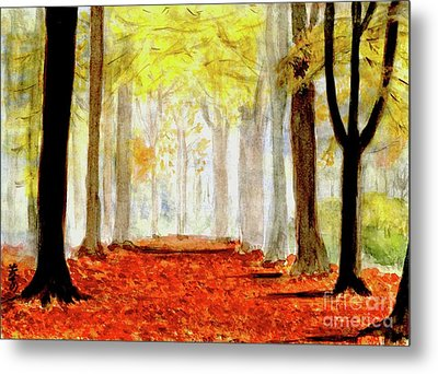 Metal Print featuring the painting Autumn Trail by Yoshiko Mishina